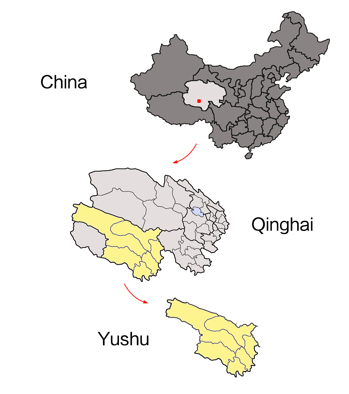 China Qinghai Yushu map